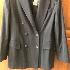Ann Taylor Blue Pinstriped Jacket